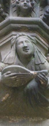 Sculpture of a Lute Player, Linlithgow Palace, Copyright Louise Turner 2013