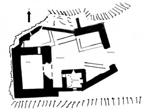 Solid black lines denote original structure with later buildings show as outlines only.